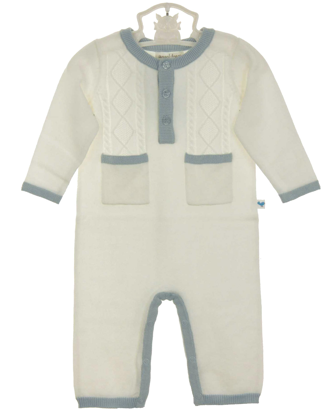 Angel Dear Ivory Soft Cotton Cable Knit Romper With Blue