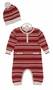 NEW Angel Dear Red Striped Cotton Knit Romper with Matching Hat