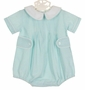 NEW Anvy Kids Blue and Green Striped Seersucker Romper with White Collar