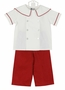 NEW Anvy Kids Red and White Corduroy Pants Set