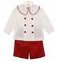 NEW Bailey Boys Red Pinwale Corduroy Shorts Set with White Shirt