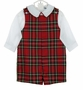NEW Bailey Boys Red Tartan Plaid Shortall with Matching White Shirt