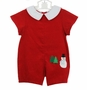 NEW Betti Terrell Red Pinwale Corduroy Romper with Snowman Applique