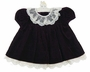 NEW C. I. Castro Purple Velvet Baby Dress with Ivory Lace Trimmed Neckline and Hem