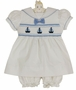 NEW Carriage Boutique White Cotton Smocked Baby Dress with Embroidered Boats