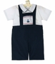 NEW Carriage Boutiques Navy Shorts Set with White Smocked Shirt