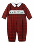 NEW Carriage Boutiques Red Plaid Smocked Romper with Santa Embroidery