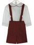 NEW Chabre Red Plaid Suspendered Shorts Set with White Shirt