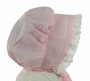 NEW Charleston Style Pink Eyelet Baby Bonnet with White Eyelet Ruffle