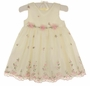 NEW Cinderella Ivory Organdy Dress with Pink and Green Embroidery