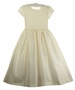 NEW Day Dream Heirlooms Pearl White Silk Short Sleeved Dress with Embroidered Pearl Trimmed Bodice