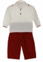NEW Dolce Goccia White Cotton Knit Sweater with Red Trim and Red Corduroy Pants