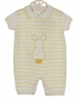 NEW Dolce Goccia Yellow and White Striped Cotton Knit Romper with Bunny Applique for Baby Boys