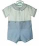 NEW Feltman Brothers Blue and White Button on Shorts Set with Pintucks, Fagoting, and Embroidery