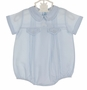 NEW Feltman Brothers Blue Pintucked Romper with White Teddy Bear Embroidery