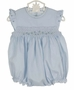 NEW Feltman Brothers Blue Smocked Bubble with Angel Sleeves and Embroidered Rosebuds