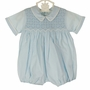 "<img src=""http://site.grammies-attic.com/images/blue-sold-1.gif""> NEW Feltman Brothers Blue Smocked Romper with Back Ties"