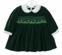 NEW Feltman Brothers Green Velvet Dress with White Lace Trimmed Collar