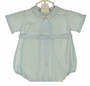 NEW Feltman Brothers Pale Blue Baby Romper with Beautifully Embroidered Collar
