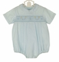 NEW Feltman Brothers Pale Blue Smocked Romper with Vintage Stick Horse Embroidery