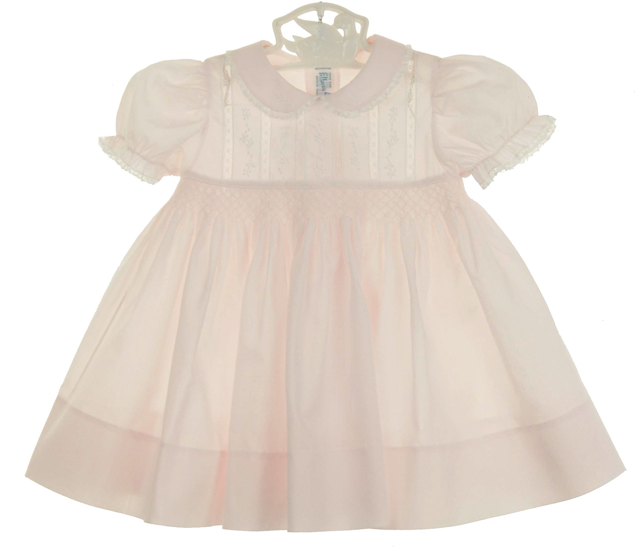 Feltman Brothers Pink Smocked Dress With Embroidery And