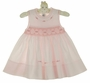 NEW Feltman Brothers Pink Smocked Sleeveless Dress with Fagoting and Embroidery