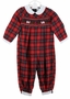 "<img src=""http://site.grammies-attic.com/images/blue-sold-1.gif"">  NEW Feltman Brothers Red Plaid Smocked Romper with Embroidered Scotty Dogs"