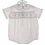 NEW Feltman Brothers White Romper with Blue Smocking