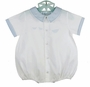 NEW Feltman Brothers White Romper with Boat Embroidery and Blue Trim