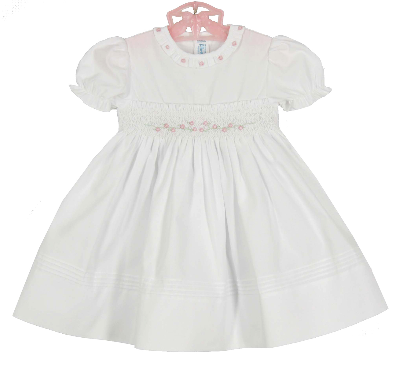 Feltman Brothers white smocked baby dress with pink embroidered ...