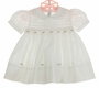 NEW Feltman Brothers White Smocked Dress with Openwork and Pink Rosebuds