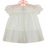 NEW Feltman Brothers White Dress with Pink Embroidery, Pintucks, and Lace