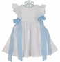NEW Funtasia White Seersucker Pinafore Style Dress with Blue Ribbons