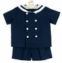 NEW Funtasia Navy Blue Linen Sailor Shorts Set