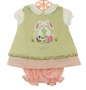 NEW Glorimont Reversible Green Cotton Oxford Striped Dress and Pantaloon Set with Bunny Applique