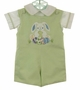 NEW Glorimont Reversible Green Cotton Oxford Striped Shortall and Shirt Set with Bunny Applique