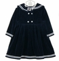 "<img src=""http://site.grammies-attic.com/images/blue-sold-1.gif""> NEW Good Lad Long Sleeved Velvet Sailor Dress"