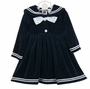 NEW Good Lad Navy Velvet Sailor Dress with White Satin Tie
