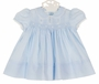 NEW Hand Embroidered Blue Smocked Dress with Pintucks, Lace insertion, and Embroidery