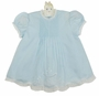 NEW Hand Embroidered Pale Blue Dress with Pintucks and Lace Insertion