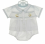 NEW Hand Embroidered White Smocked Diaper Set with Rocking Horse Embroidery