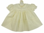 NEW Hand Embroidered Pale Yellow Dress with Embroidery and Lace Trimmed Collar