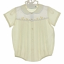 """<img src=""""http://site.grammies-attic.com/images/blue-sold-1.gif""""> NEW Hand Embroidered Pale Yellow Romper with Ducks and Matching Hat"""