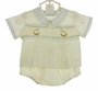 NEW Hand Embroidered Pale Yellow Smocked Diaper Set with Rocking Horse Embroidery