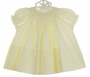 NEW Hand Embroidered Pale Yellow Smocked Dress with Lace Trim