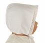 NEW Hand Embroidered White Batiste Bonnet with Lace Trim