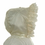 "<img src=""http://site.grammies-attic.com/images/blue-sold-1.gif"">  NEW Hearts Delight Ivory Silk Bonnet with Lace Trim"