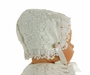 NEW Hearts Delight Pearl White Silk and Venice Lace Bonnet with Pink Rosebud Trim