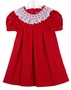 NEW House of Hatten Red Pinwale Corduroy Pleated Dress with Smocked Lace Collar