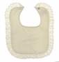 NEW Ivory Bib with Embroidered Celtic Cross and Lace Trim